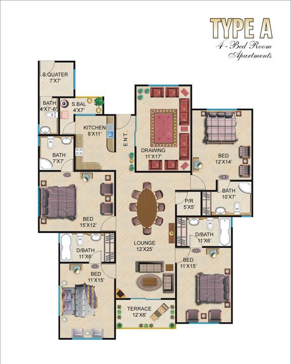 Floor Plan Type A 4 Bedroom Apartments
